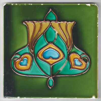 TILE TUBELINED ART NOUVEAU DESIGN MINTON HOLLINS EARLY C.1900'S, 6IN.SQ x 3/8IN