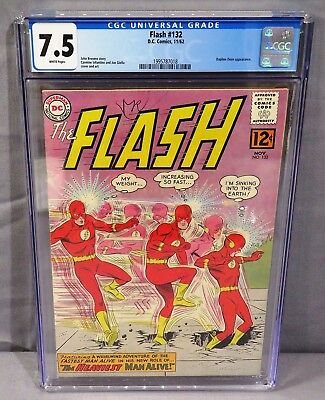 THE FLASH #132 (White Pages) CGC 7.5 VF- DC Comics 1962