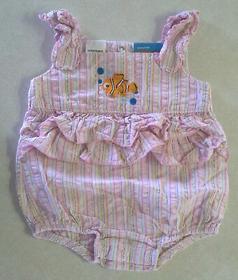 """Girl's Size 3-6 M Months One Piece Finding """"Nemo"""" Embroidered Gingham Romper"""