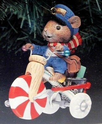 """1991-92 Enesco Christmas Ornament """"Mr. Mailmouse"""" Mouse Delivering Mail Tricycle"""