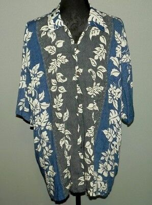 208311c8 Pineapple Connection Men's Hawaiian Button Up Shirt Blue Gray Floral Size XL