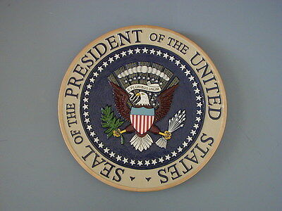 US Presidential Seal hand carved and painted solid wood with raised features