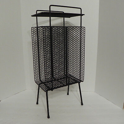 Wrought Iron Magazine Rack Side Table Ashtray Stand VTG MCM Black Plant Stand
