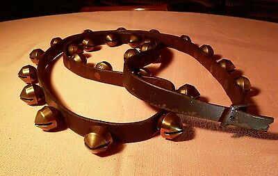 """Vintage Brass Sleigh Bells on Leather Strap w Buckle Approx 78""""L"""
