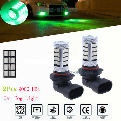 2Pcs 9006 HB4 Super Green 92-SMD Auto LED Bulbs For Car Truck Fog Lights Lamps