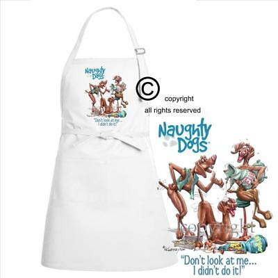 Vizsla Dog Breed Naughty Dogs Didn't Do It Cartoon Art Kitchen Chef Full Apron