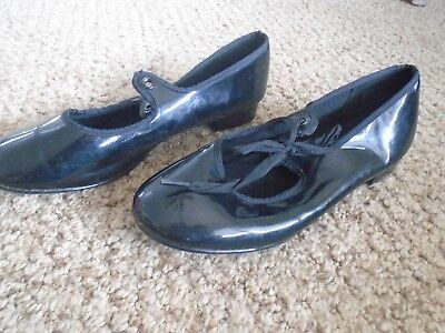 ABT American Ballet Theater Girls  Black Patent Leather Tap Shoes Size 1