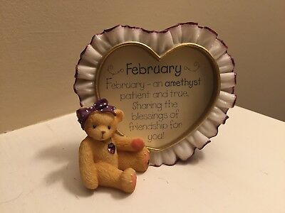 NEW Enesco February birthday bear purple amethyst & framed sentiment in gift box