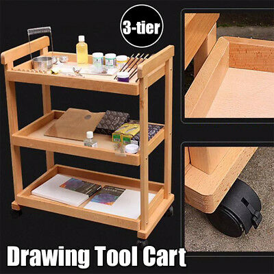 3 Tier Trays Wood Tool Cart Removable Storage Art Drawing