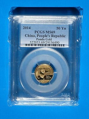2014 Gold Panda 50 Yn 1/10th oz. MS69 China, People's Republic PCGS