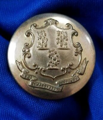Vintage Connecticut State Heavy Brass Button - Scovill Mfg. Co.