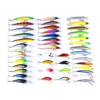 53pcs/lot Fishing Lures Crankbait Hooks Minnow Baits Vivid Fishing Tackle Tool