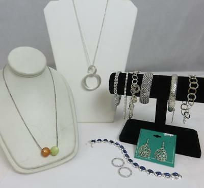 A+ 12pc Lot MODERN ITALIAN Sterling Silver BRACLETS NECKLACES RINGS Diamond