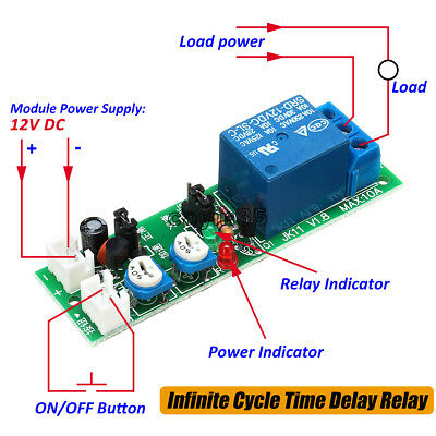 DC 12V Infinite Cycle Loop Timer Delay Adjustable Time Relay Switch Module