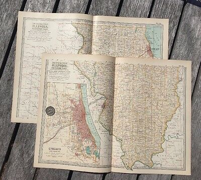 "Lot Of 2 Antique 1897 Maps from New Century Atlas 16""X11"" North & South ILLINOIS"