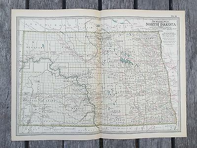 "Antique 1897 American Map from New Century Atlas 16""X11"" NORTH DAKOTA"