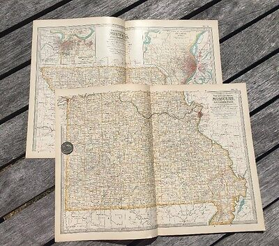 "Lot Of 2 Antique 1897 Maps from New Century Atlas 16""X11"" North & South MISSOURI"
