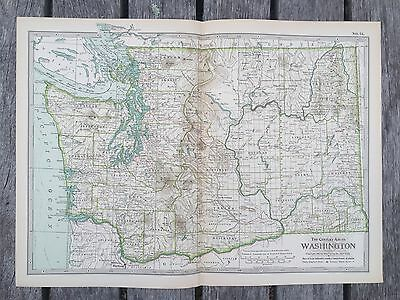 """Antique American 1897 Map from New Century Atlas 16X11"""" State Of WASHINGTON"""