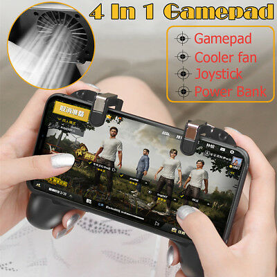 Mobile Gaming Gamepad Controller Trigger Fire Button Power Bank Cooler For PUBG