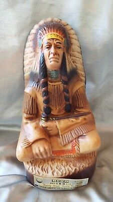 1979 Jim Beam Decanter  Native American Indian Chief - Full Size - Nice Piece
