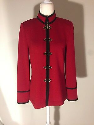 St John Collection Vintage Red Military Style Size 4 Jacket