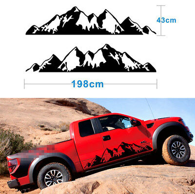 2Pcs Snow Mountain Decal Vinyl Decor Sticker for Off Road Car Pickup Black DIY