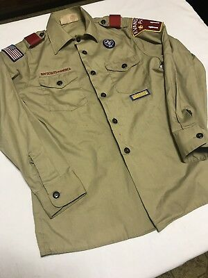 Boy Scouts Of America Youth L Long Sleeve Shirt With Patches Bsa Beige