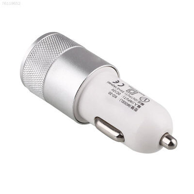 Dual USB Universal Car Cigarette Lighter Socket Charger Metal Adapter Silver