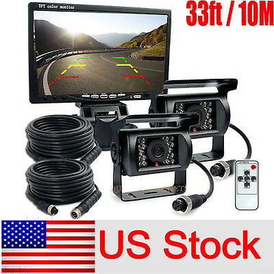 """For RV Truck Bus 2x Rear View Camera Night Vision System+7"""" Monitor 33FT Cable"""