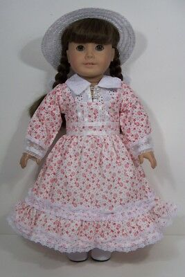 """Victorian RED WHITE Floral Dress & Hat Doll Clothes For 18"""" American Girl (Debs)"""