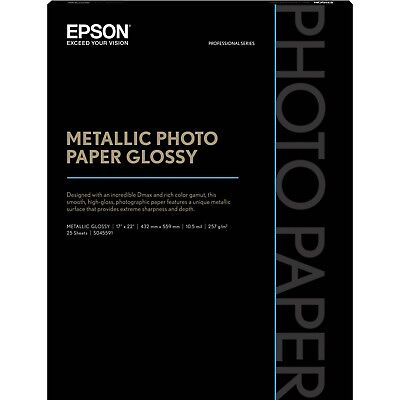 "NEW Epson S045591 Metallic Photo Paper Glossy - 17"" x 22"" (25 Sheets)"