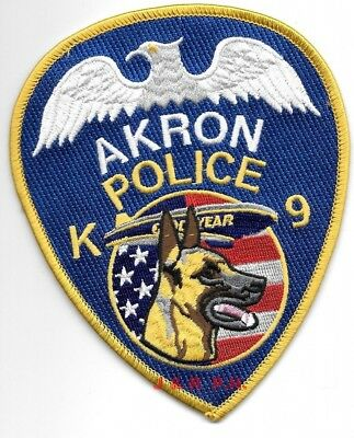 """*NEW*  Akron  K-9, Ohio  """"Goodyear"""" (4"""" X 5"""" size) shoulder police patch (fire)"""