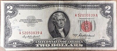 1953 A $2 United States Note! Red seal! n839