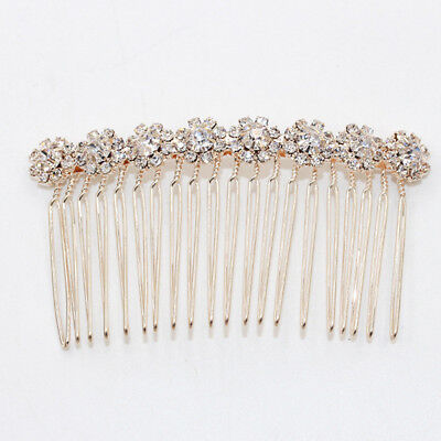 Wedding women hair bride Accessories Gold Hair Comb piece Clip Pin Bridal crysta