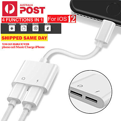 For iPhone 7 8 X XS Max Plus Dual Lightning AUX Adapter Charge with Earphone AU
