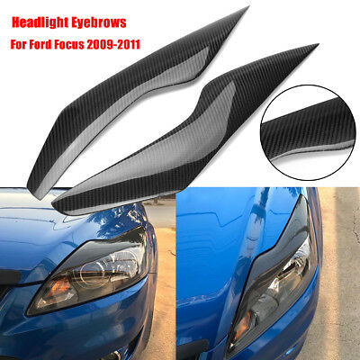 2x Carbon Fiber Headlight Eyebrows Eyelids Molding Trim Cover For Ford Focus 09+