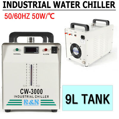 220V CW-3000 Industrial Water Chiller Thermolysis for 60W/ 80W Co2 Glass Tube 9L