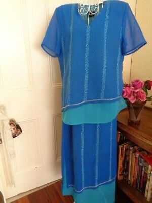 Blue & Green Outfit By Stitches (Long Skirt & Top )  With Beading Trims