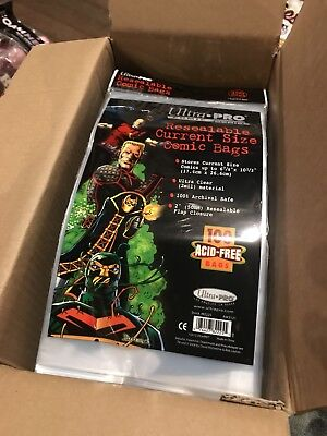 Box Of 1000 Ultra Pro Current Size Comic Storage Bags Brand New Factory Sealed!!