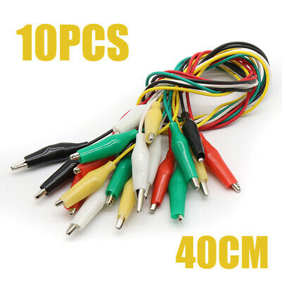 10 Pcs Double Ended Alligator Crocodile Clips Test Lead Jumper Wires Colorful