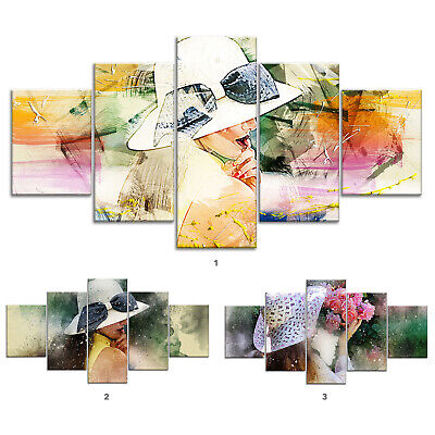 Woman Modern Abstract Canvas Print Painting Framed Home Decor Wall Art Poster 5P