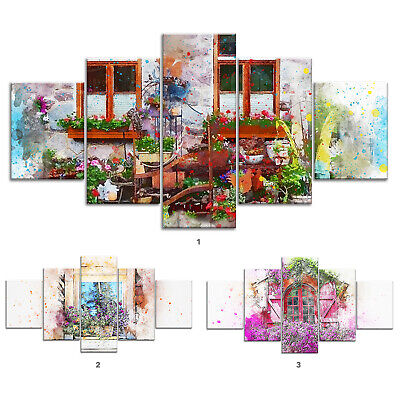 Window Flowers Abstract Canvas Print Painting Framed Home Decor Wall Art Poster