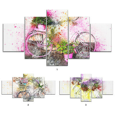 Flowers Bicycle Abstract Canvas Print Painting Framed Home Decor Wall Art 5Pcs