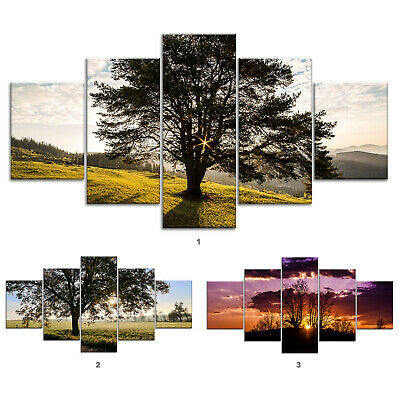 Oak Tree Meadow Canvas Print Painting Framed Home Decor Wall Art ff Poster 5Pcs