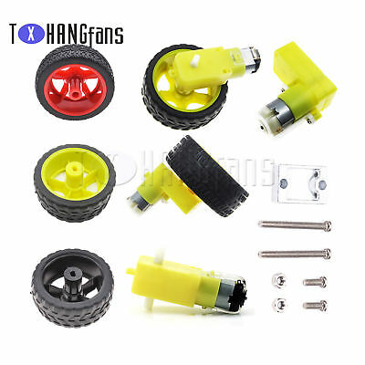 Smart Car Robot DC 3-6/12V Gear Motor Right-angle with Plastic Tire Wheel Mount