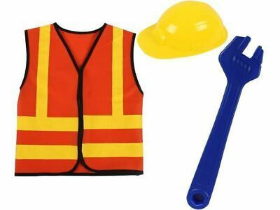 Construction Worker Builder Dress Up Costume & Hat Child's Kids Role Play Set
