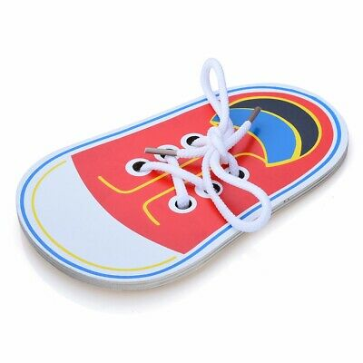 Kid Wooden Lacing Shoe Learn to Tie Laces Threading Educational Motor Skills Toy