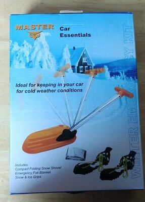 Be Safe In The Snow Kit, Store In Boot Shovel, ice grips and foil blanket. BNIB.