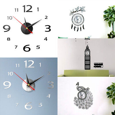 3D DIY Wall Clock Home Modern Decoration Crystal Mirror Vinyl Art Sticker Decal#