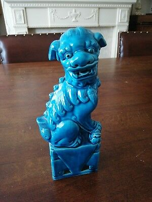 RARE VINTAGE/RETRO BLUE CERAMIC CHINESE  FOO DOG/DRAGON/GUARDIAN. 20cm tall